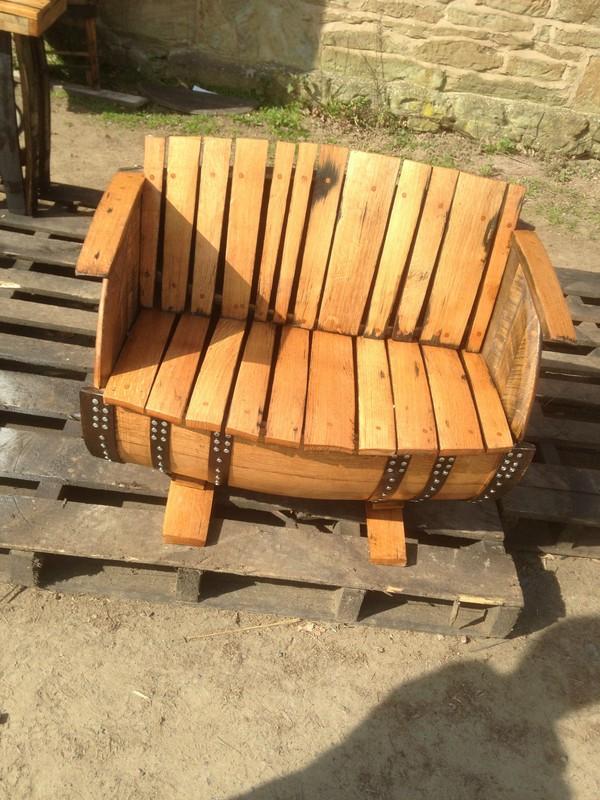 Reclaimed Whisky Barrel Bench