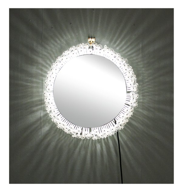 Midcentury Austrian Lit Mirror with Glass Flowers