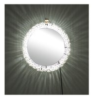 Midcentury Austrian Lit Mirror with Glass Flowers