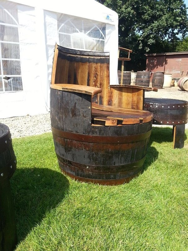 Oak barrel garden arm chairs