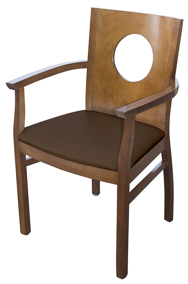 Refurbished Brown Carver ArmChairs with Faux Leather Seat