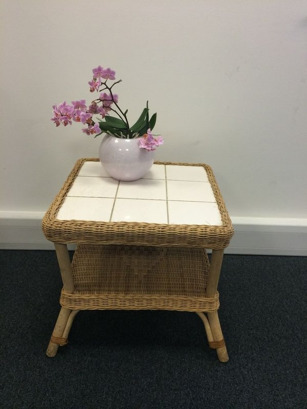 Wicker Coffee Table with white tiled top
