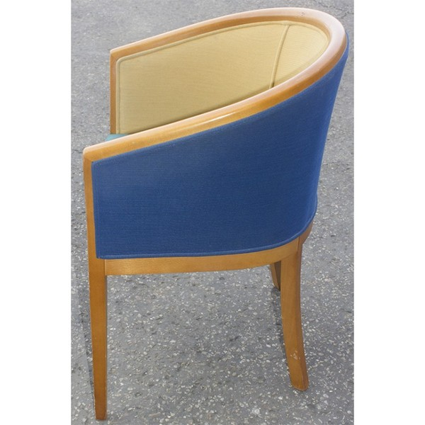 Tub Chair With Green And Blue Upholstery for sale