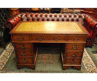Brown Top Mahogany Twin Pedestal Writing Desk