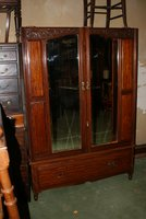 Victorian Walnut Double Door Mirrored Wardrobe