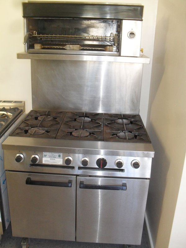 Falcon G1107 CE 6 Burner Oven Range on castors