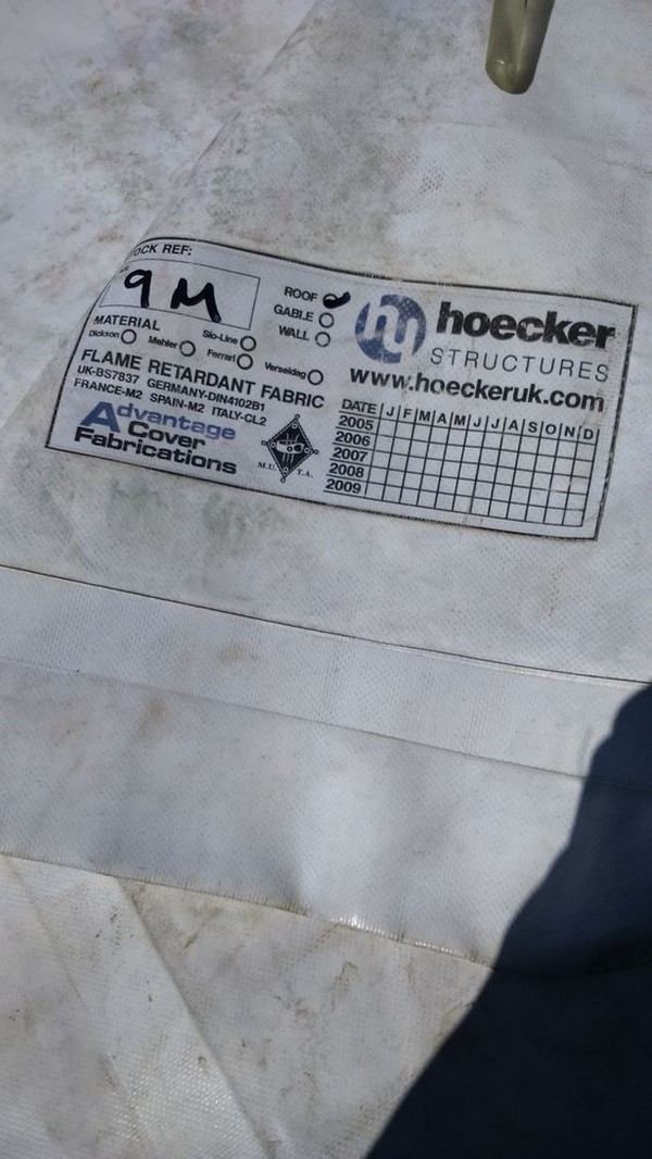 Selling 7no. 9m Hoecker Marquee White Clear Span Roofs