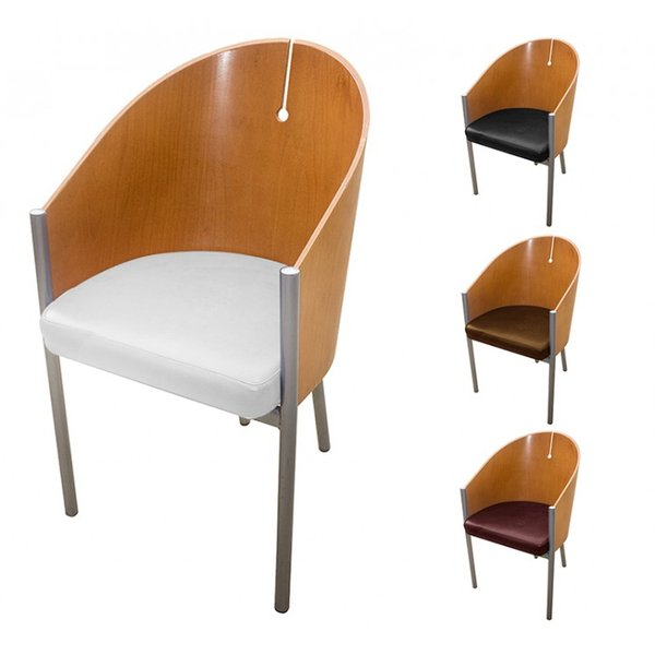 Refurbished Tub Chair with Faux Leather Seat