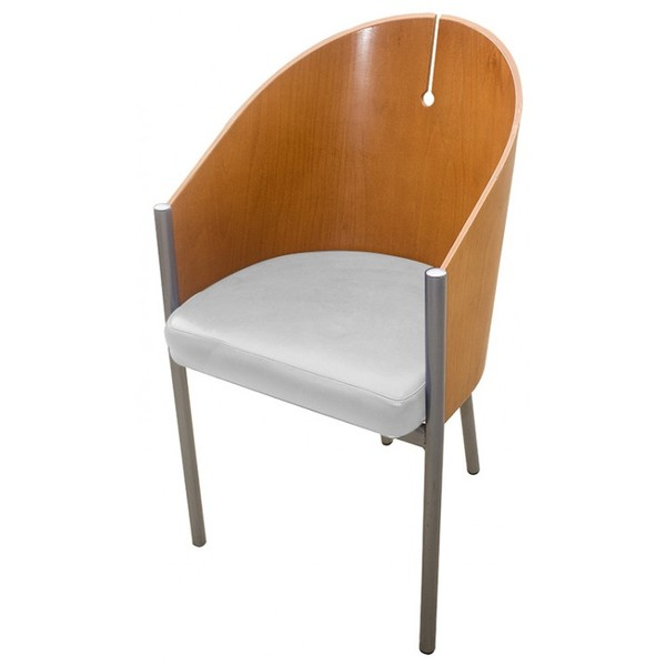 Tub Chair with Brown Faux Leather Seat