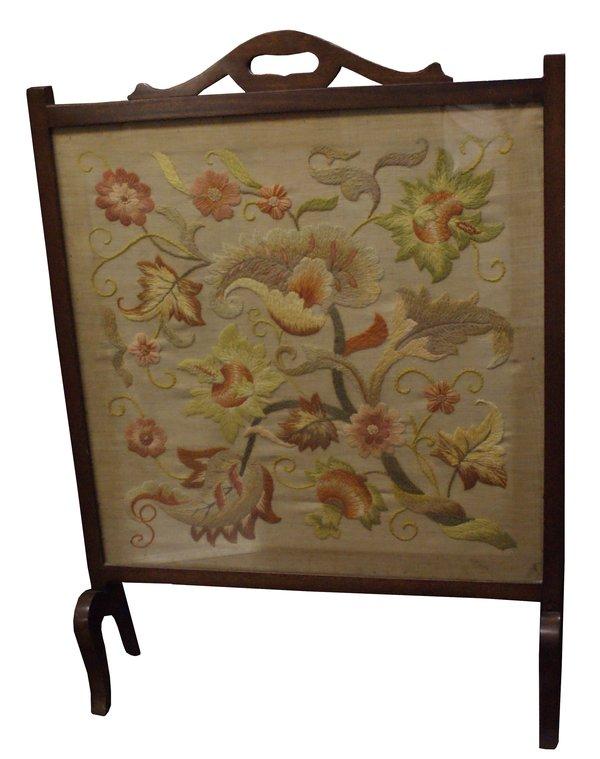 Edwardian Embroidered Silk Fire Screen