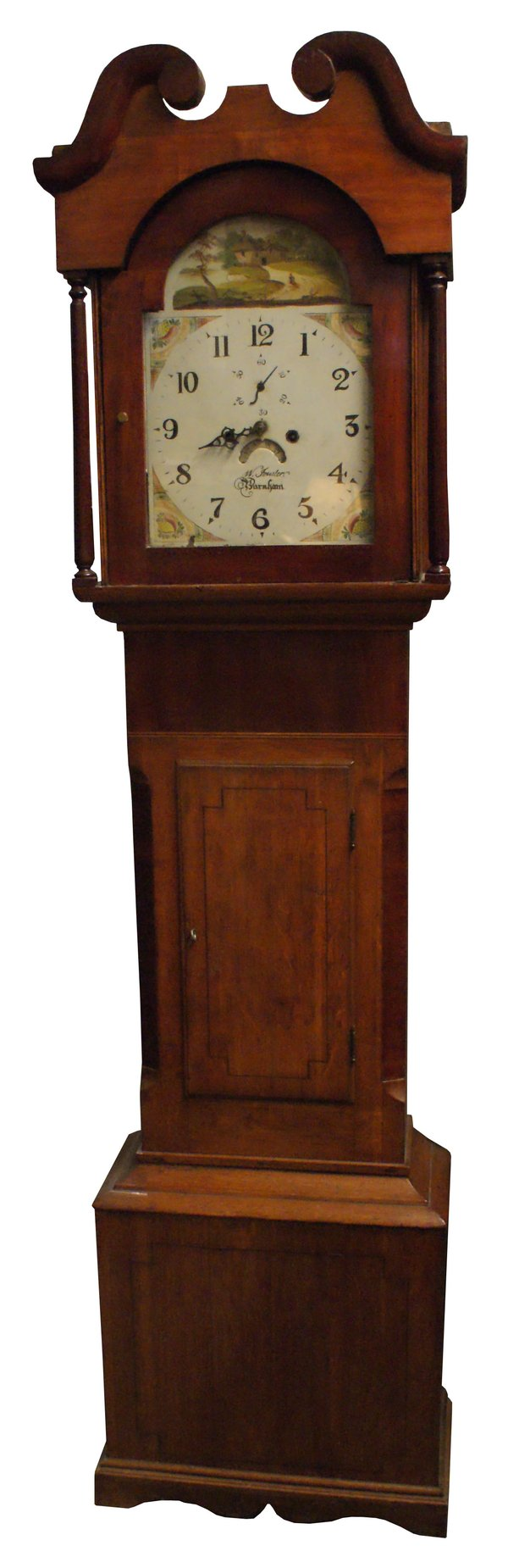 Longcased Victorian Grandfather Clock Painted Dial