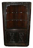 Victorian Dark Oak Carved Corner Cabinet