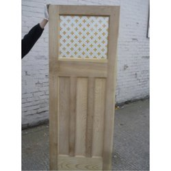 1930's Acid Etched Door with Amber Gothic Glass