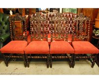 4 Victorian carved Carolean Chairs in Red Upholstery