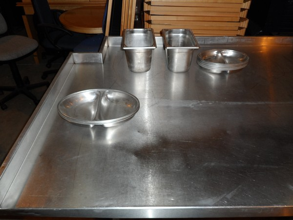 Very deep stainless steel prep table