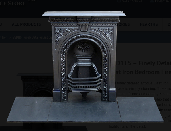 Finely Detailed Antique Cast Iron Bedroom Fireplace