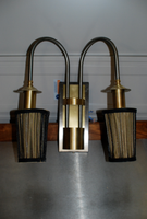Steel and Brass Twin Wall Lights