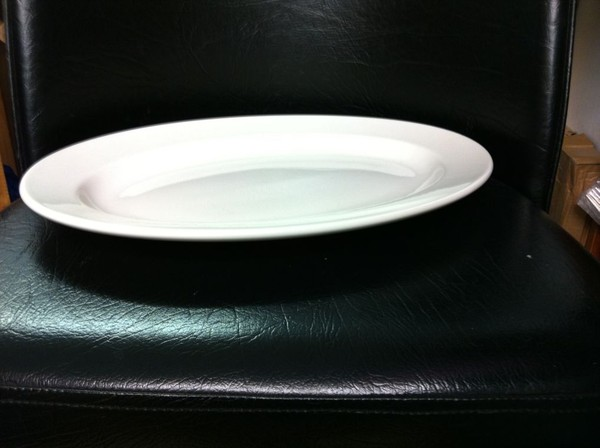 "100 Dudson New Slight Seconds Oval Plate Heavy Duty Hotelware 15"" Wide Rim"