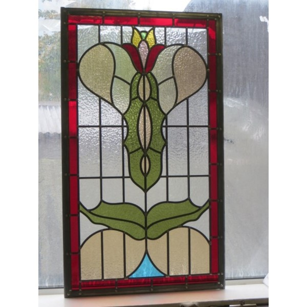 Custom made Art Nouveau stained glass panel