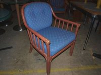 Cane Easy Chair with Blue Upholstery