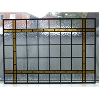Hand made stained glass panel Rectangle with amber border