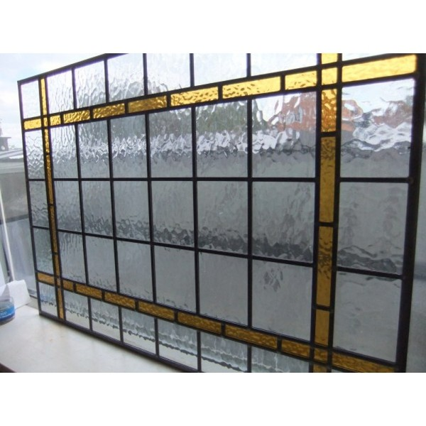 traditional Hand made stained glass panel Rectangle with amber border