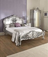 Silver Leaf Rococo, Antique King Louis Double Bed