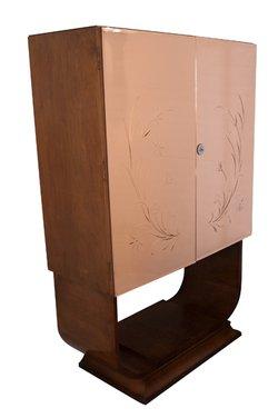 Walnut Art Deco Drinks Cupboard