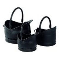 Set of 3 Traditional Coal Buckets Cathedral Helmet Style