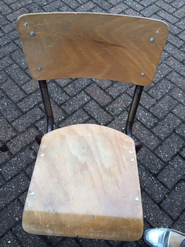 Vintage French Wooden Stacking School Chairs