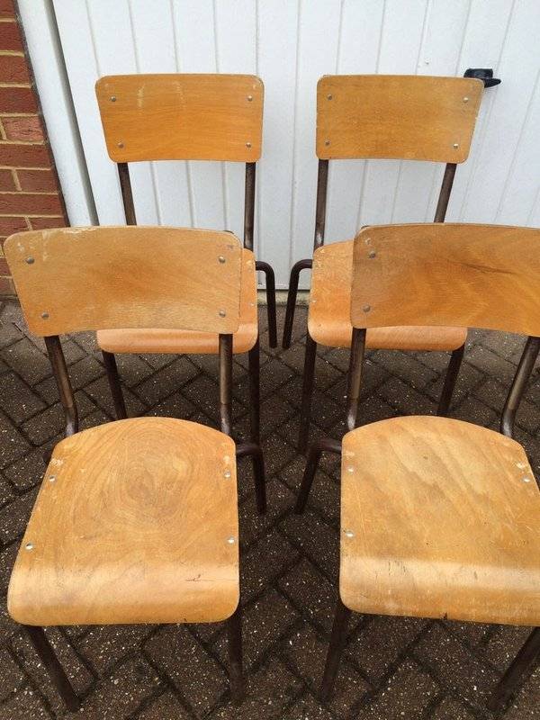 66x French Wooden Stacking School Chairs   Cobham, Surrey