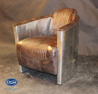 Aluminium / Brown Leather Tub Chair
