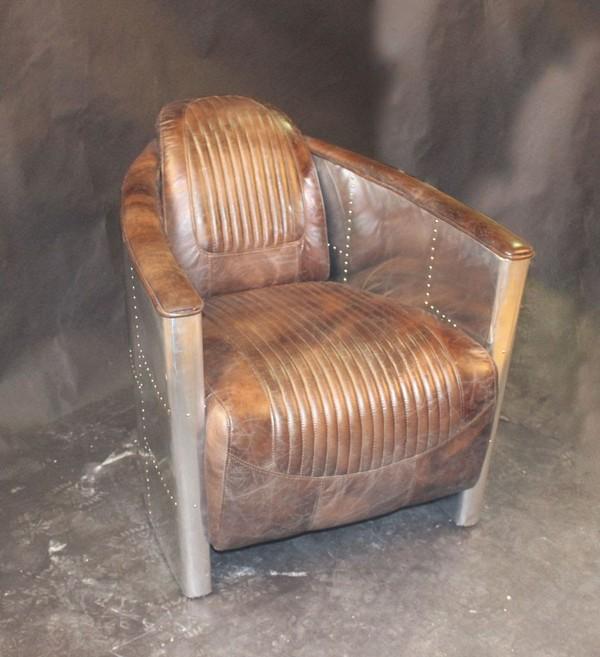 Aluminium and leather tub chair