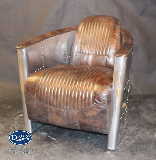 leather aviator tub chair for sale