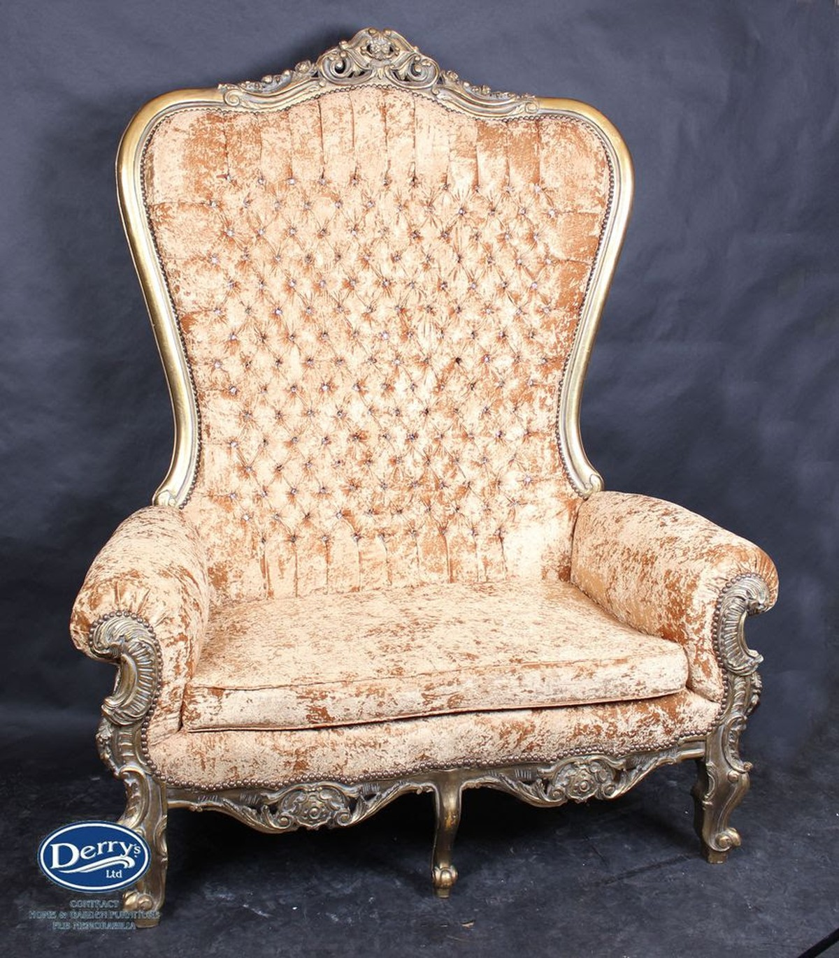 what is letter size secondhand prop shop thrones and wedding chairs 25561 | tall back ornate sofa 468