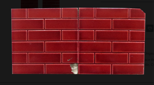 Vintage red brick fireplace tiles