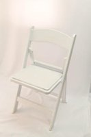 Used White Resin Ceremony Folding Chairs