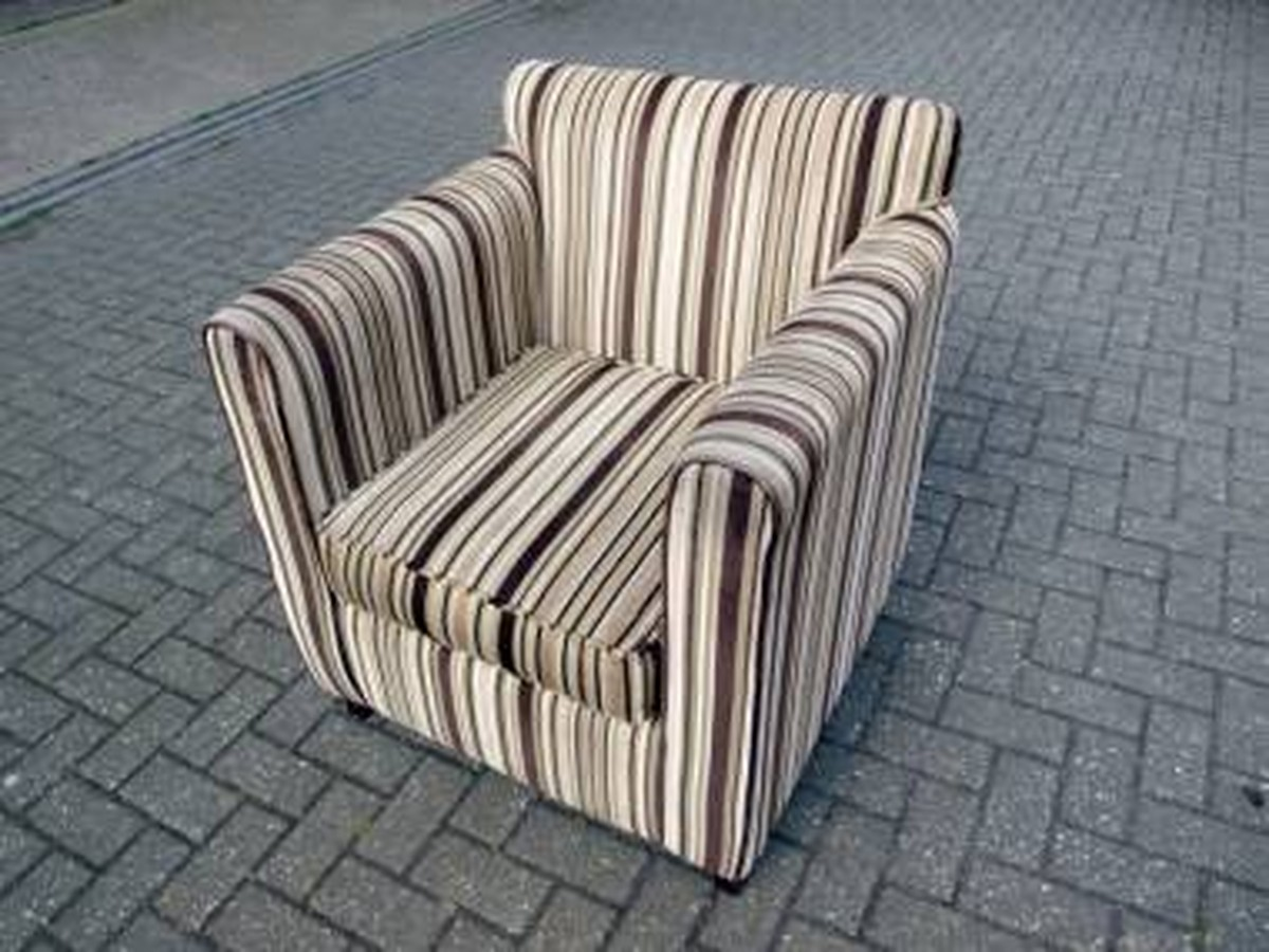 Bon Armchairs In Green U0026 Brown Striped Fabric