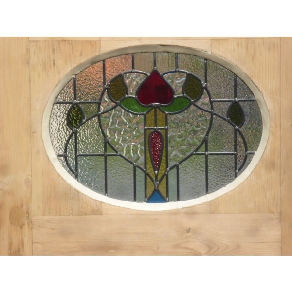 Oval stained glass insert
