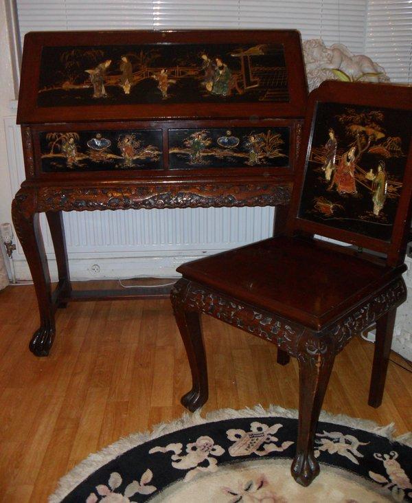 Oriental Writing Bureau and Matching Chair