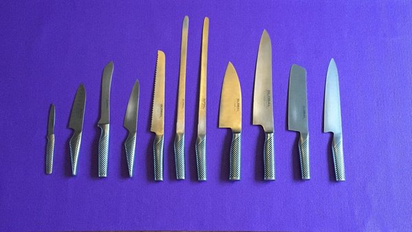 Global 11 Piece Knife Set with Global Professional Chef Knife Bag