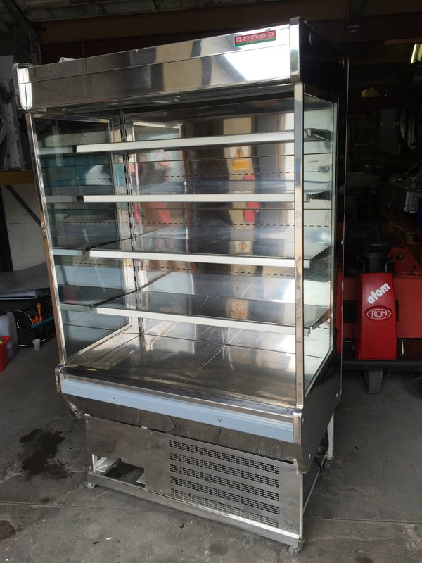 Arneg commercial stainless multideck display fridge with night blind