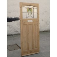 1930 Edwardian Stained Glass Exterior Door - Nouveau Yellow Tulip