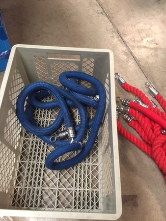 blue barrier rope