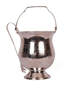 1930s Silver Plated Ice Bucket & Tongs