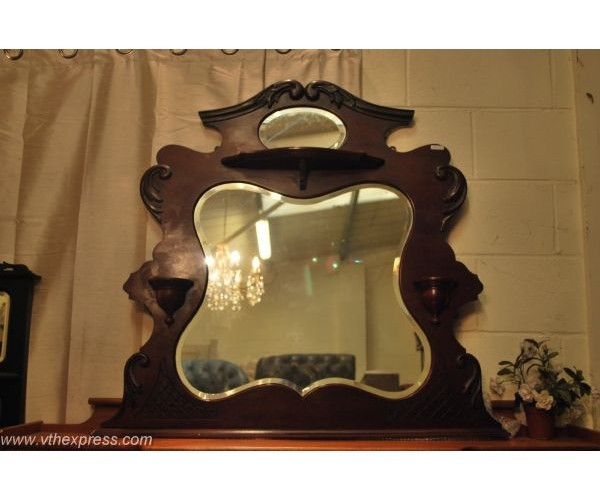 large over mantel solid mahogany mirror
