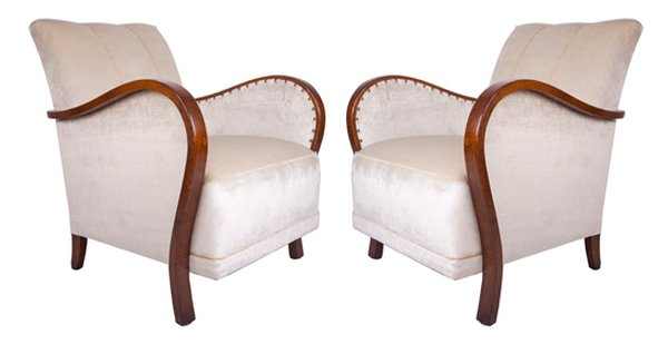 Pair of French 1940's Armchairs Reupholstered