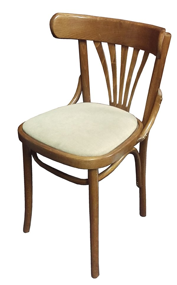 Solid Wood Dining Chair with Cream Seat