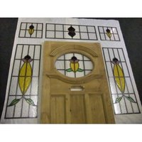 Edwardian Stained Glass Exterior Door With Surrounding Windows