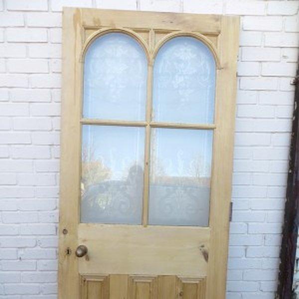 Arched acid Etched Glass Exterior Door